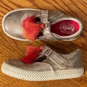 EUC Keds Tassel Sneaker, Silver
